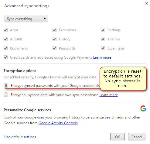 encryption is disabled after the sync reset
