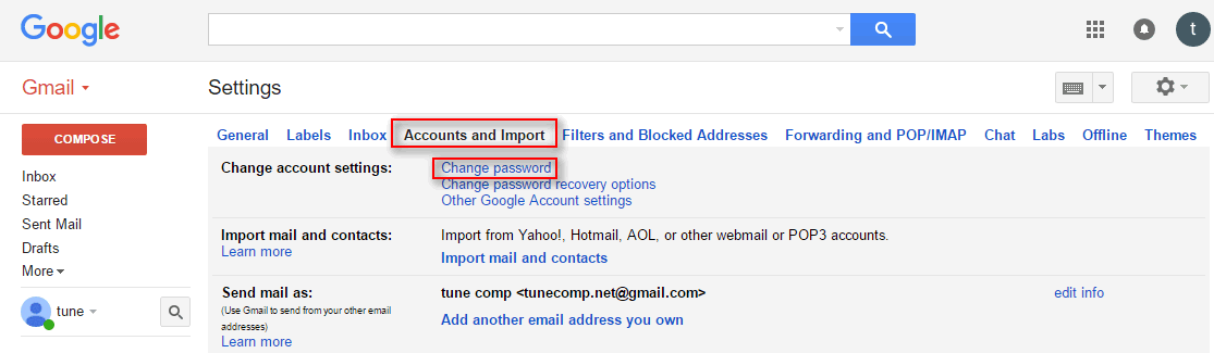 Change my gmail password in google