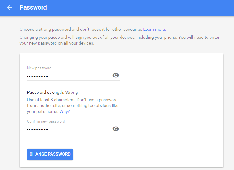change password for google account