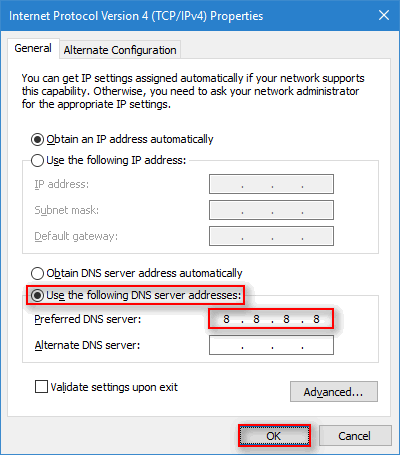 Switch to Google DNS to fix ERR_NAME_NOT_RESOLVED