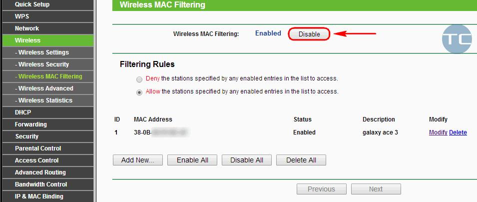 mac filter on tplink