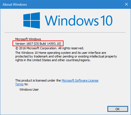 Version 1607 OS Build 14393.10