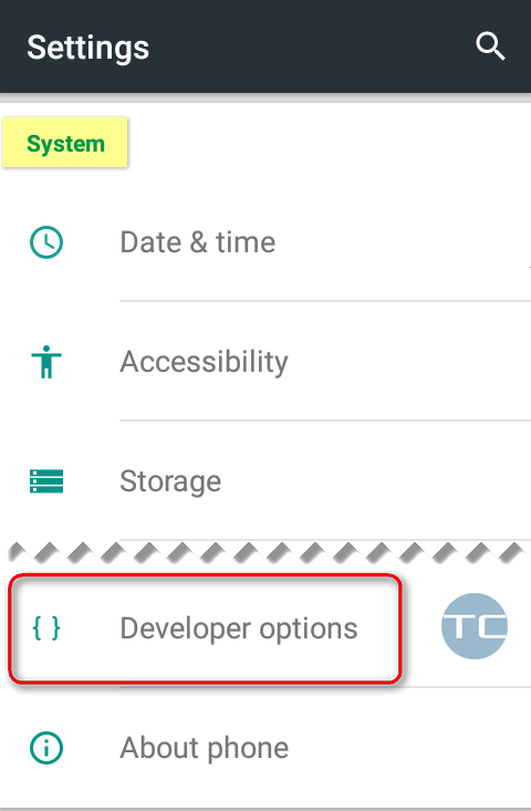 android 5 developer options