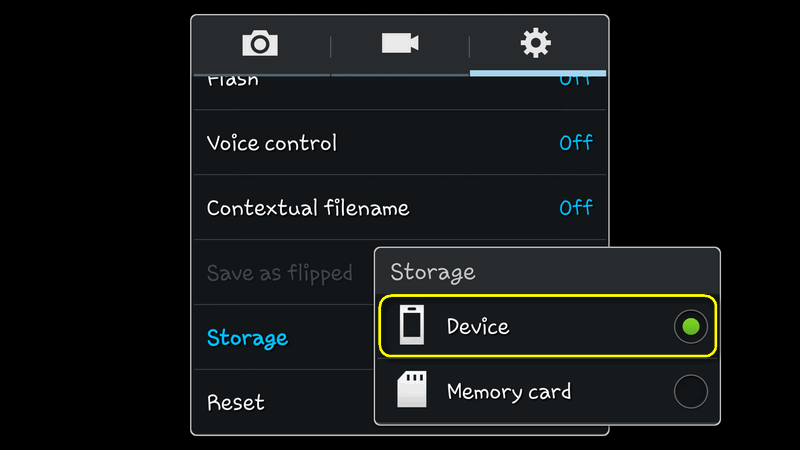 android galaxy camera storage device