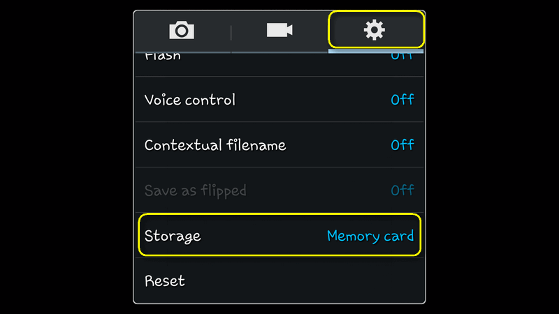 android galaxy camera storage