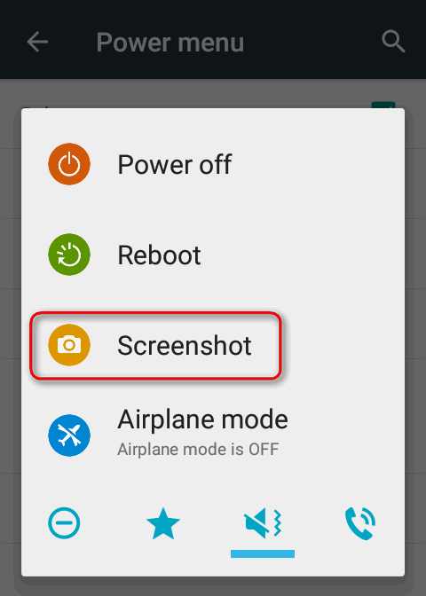 cyanogen power menu take screenshot