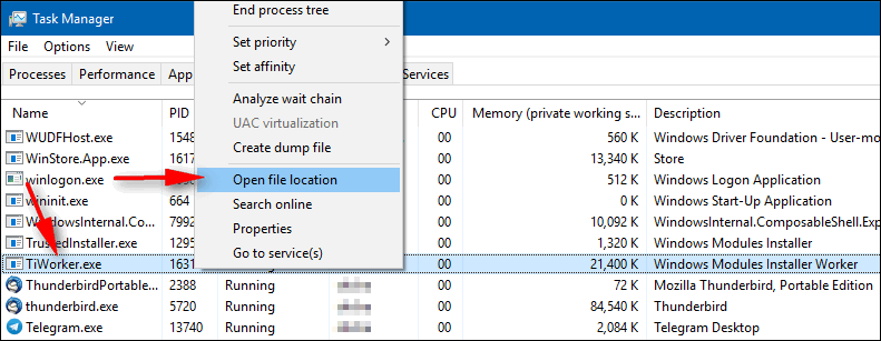 open file location Windows 10 Task Manager