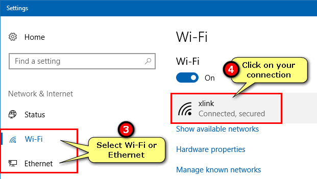 select your network connection