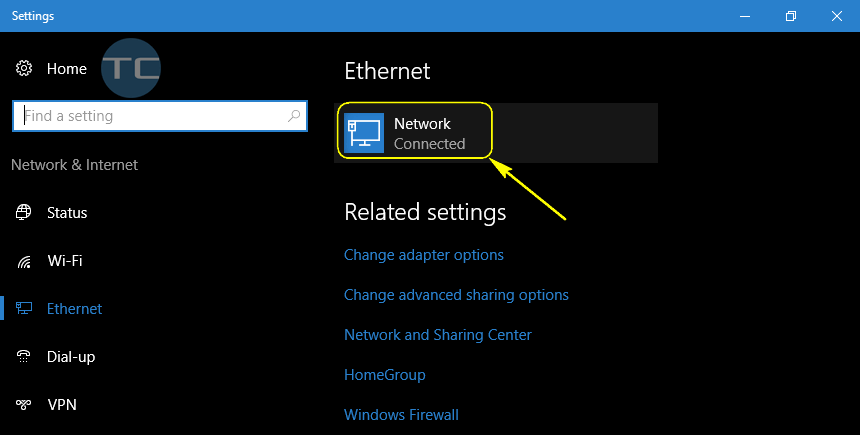 settings - ethernet - wired network name