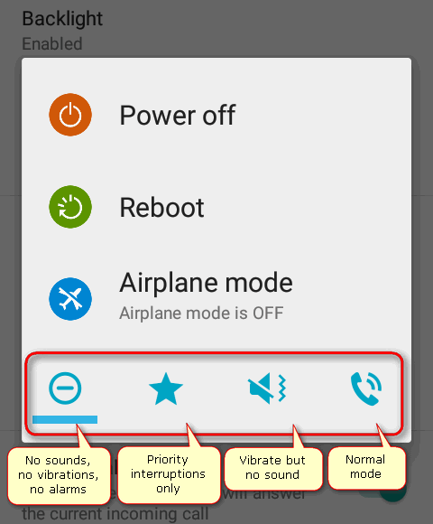 sound panel in power menu Android 7