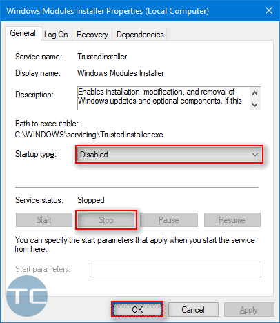 trustedinstaller disable and stop