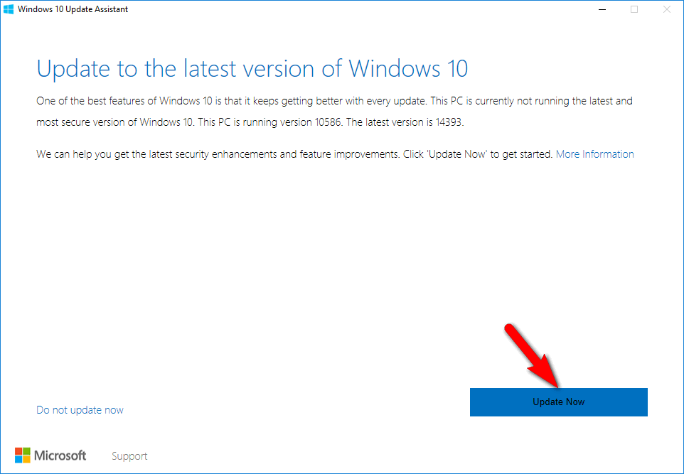 windows 10 update assistant - Update Now