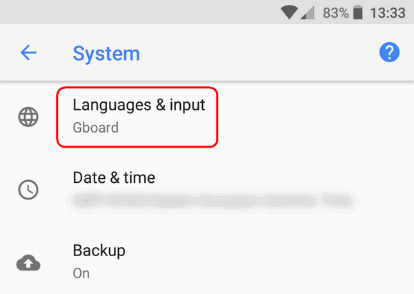 Languages & input Android 8