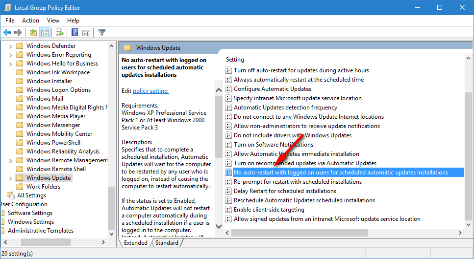 No auto restart with loggedon users for scheduled automatic updates installations