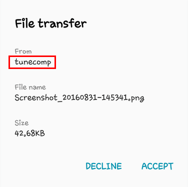 bluetooth name in file transfer dialogue