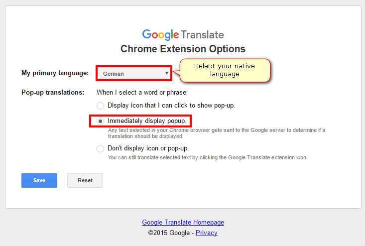 configure google translate extension for google chrome