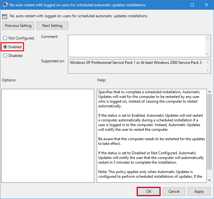 no auto-restart enabled
