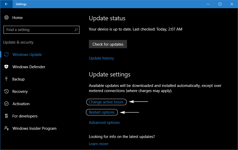 settings set up active hours windows 10