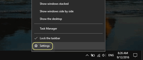 taskbar settings windows 10