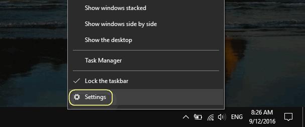 taskbar settings windows 10