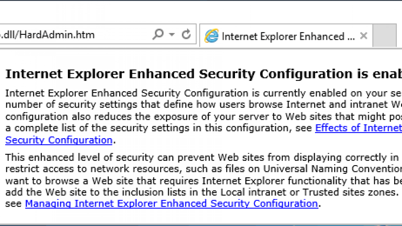 Disable Internet Explorer Enhanced Security Configuration in