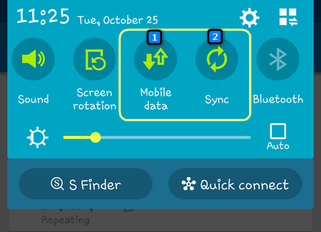 enable mobile data and sync