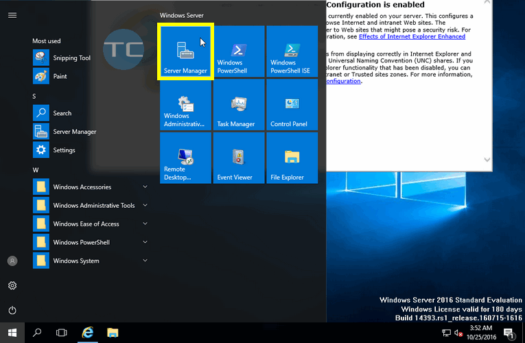 Server Manager Windows Server 2016