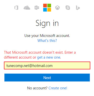 that microsoft account doesn't exist