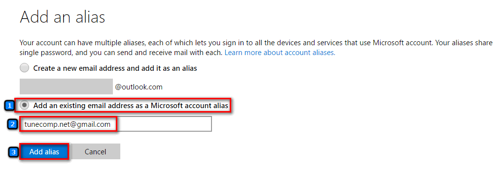 add an existing email to microsoft account