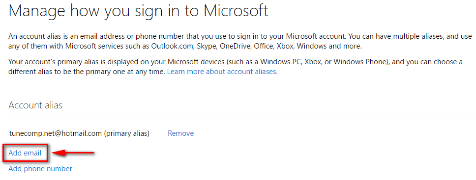 add email to microsoft account