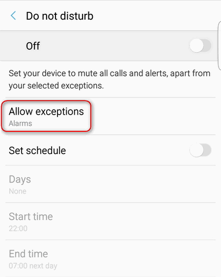 allow expections in do not disturb