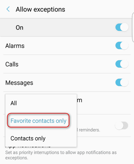 favorite contacts only