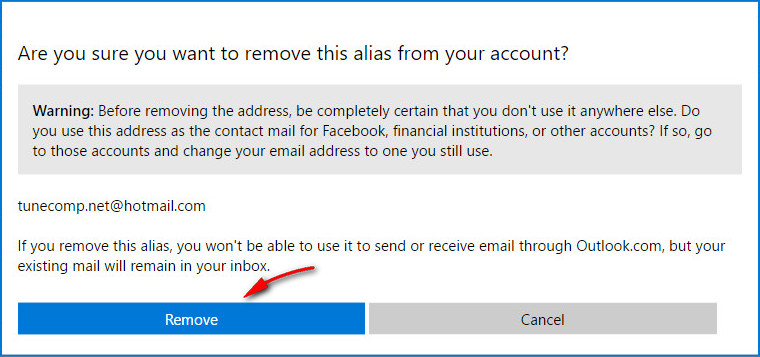 confirm email removal