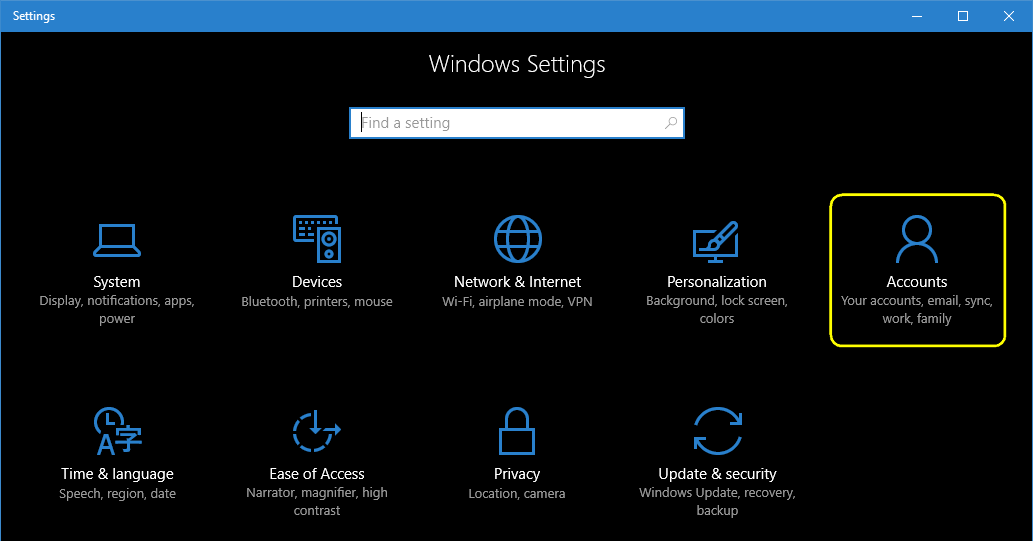 Windows 10 settings - accounts