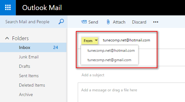 use both mailboxes in outlook web interface