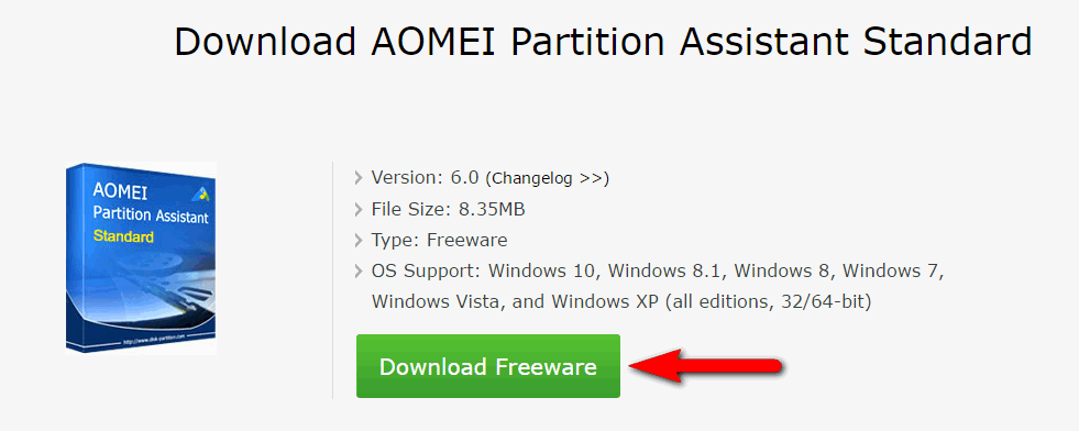 Download AOMEI Partition Assistant Standard