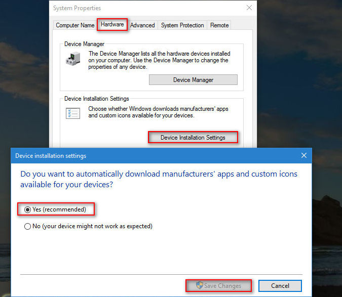 enable driver updates Windows 10