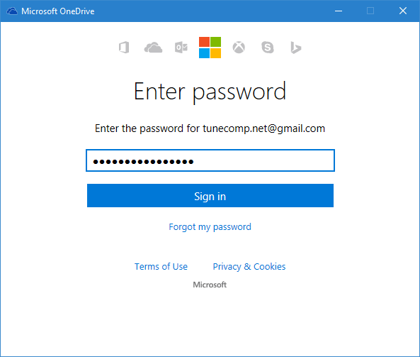 enter the password for your Microsoft account