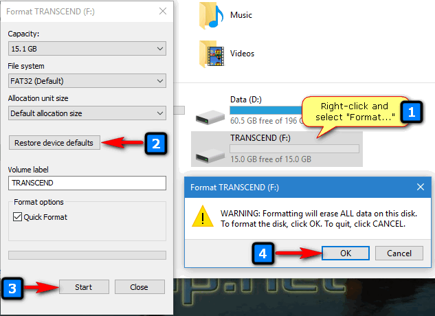 formatting the USB disk for HDAT2