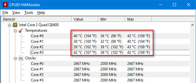 check the temperature of your hardware