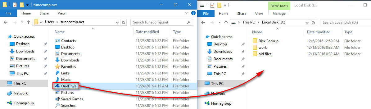 moving OneDrive folder
