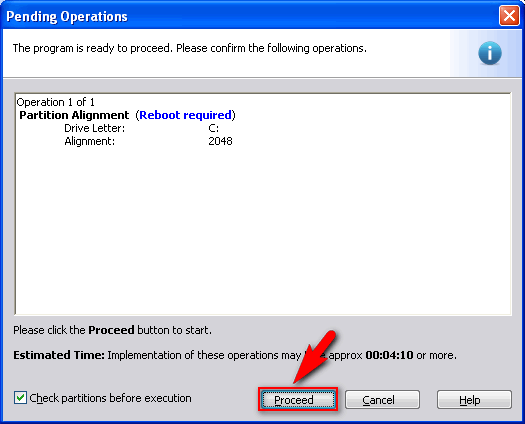 click proceed to start alignment of the selected partition