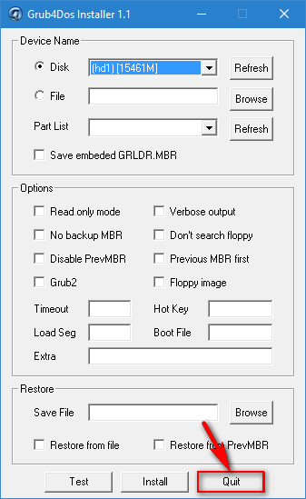 quit Grub4Dos installer