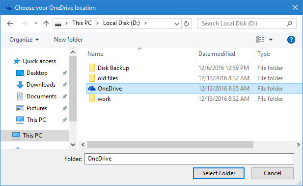select new location of your OneDrive folder