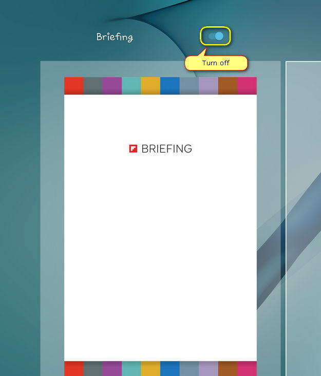turn off the Briefing screen