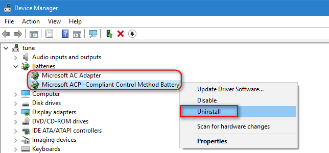 "uninstall ""Microsoft AC Adapter"" and ""ACPI-Compliant Control Method Battery"""