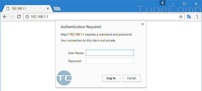 192.168.1.1 authentication required