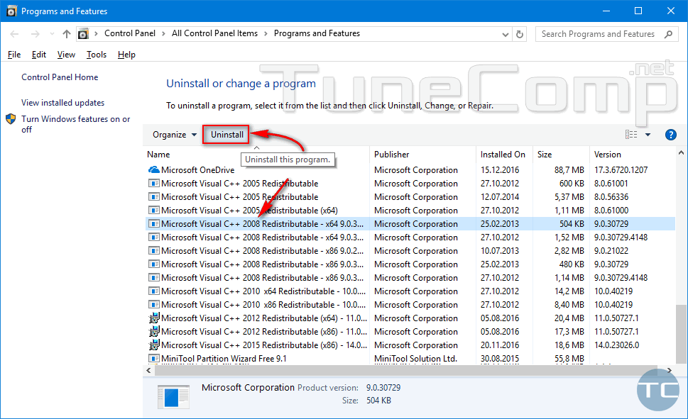 uninstall Microsoft Visual C++ 2008 Redistributable