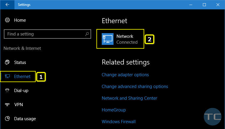 Settings Ethernet