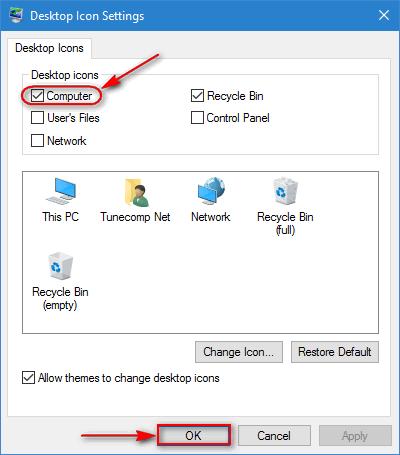 getting icons on desktop windows 10